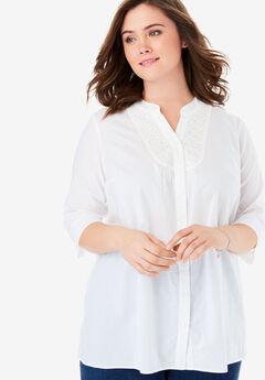 Crochet Bib Button Down Shirt, WHITE