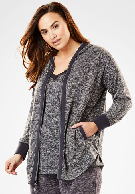 02888a5c54a266 Zip-Front Sleep Hoodie by Dreams & Co.| Plus Size Sleep | Woman Within