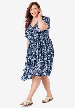 Sleeveless V-Neck Crinkle Dress,
