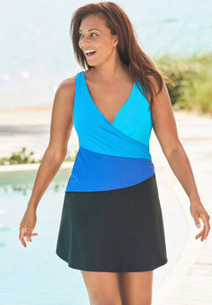 Colorblock Fit-And-Flare Swim Dress,