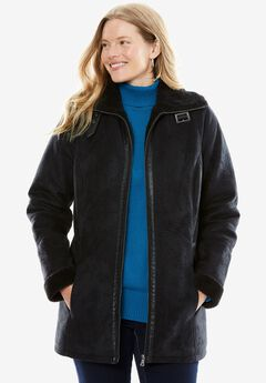 Faux Sherpa Jacket, BLACK, hi-res