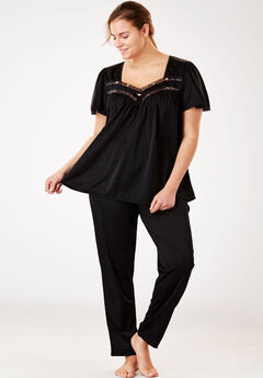 Silky 2-Piece Pajama Set by Only Necessities®, BLACK, hi-res