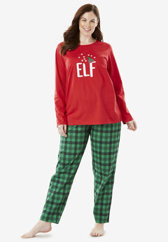 Holiday Print PJ Set by Dreams & Co.®, CLASSIC RED ELF