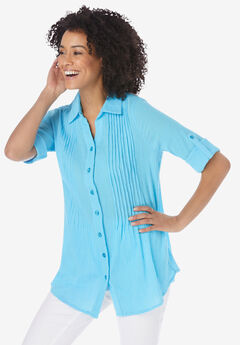 Pintucked Button Down Gauze Shirt, PARADISE BLUE