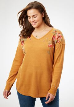 V-Neck Thermal Tee, HONEY GLAZE EMBROIDERY, hi-res