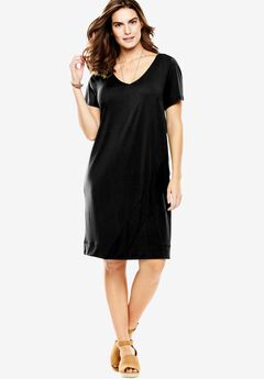 The Asymmetric Tee Dress, BLACK, hi-res