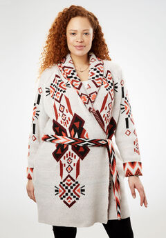 Open Front Geometric Knit Cardigan, IVORY GEO TRIBAL, hi-res
