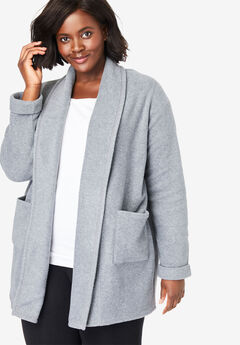 Microfleece Cardigan, MEDIUM HEATHER GREY