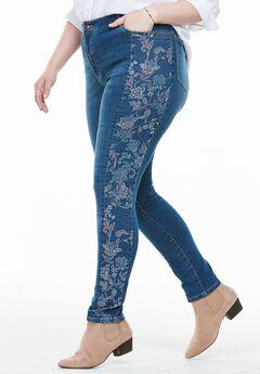 Floral Side Print Stretch Skinny Jean, MEDIUM STONEWASH FOLK FLORAL, hi-res