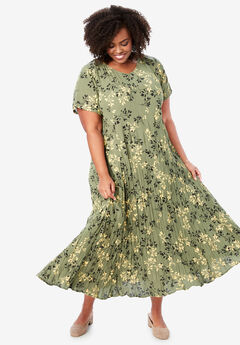 Crinkle Dress, OLIVE GREEN SHADOW LEAF