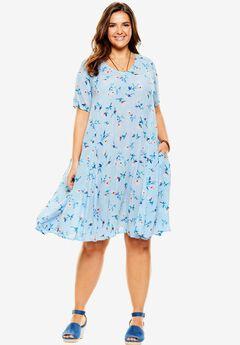 Short Crinkle Dress, BLUEBERRY CREAM DELICATE FLOWER, hi-res