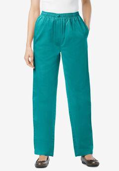 Elastic-Waist Cotton Straight Leg Pant, WATERFALL