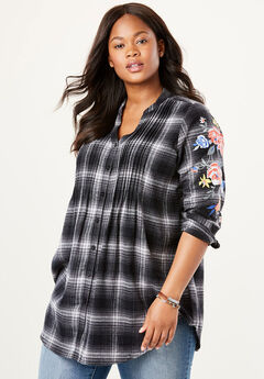 Pintucked Flannel Bigshirt, EMBROIDERED BLACK PLAID
