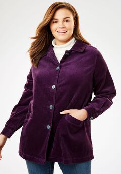 Jacket in plush pleated corduroy,