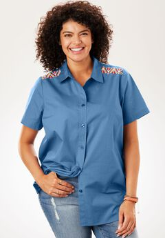 Short Sleeve Button Down Perfect Shirt, DUSTY INDIGO EMBROIDERED