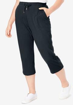 Sport Knit Capri Pant, BLACK, hi-res