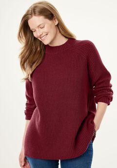 Mock Neck Shaker Knit Sweater,