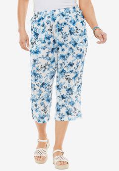 Crinkle capri pants, PAINTED FLOWER, hi-res