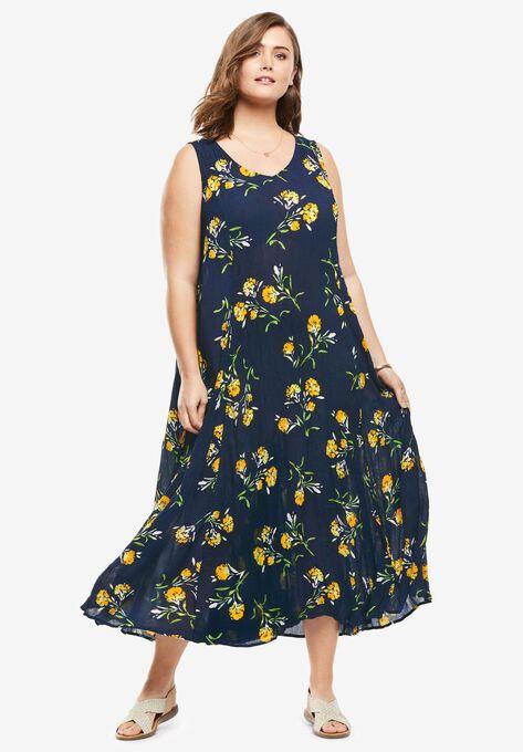 61eb06509 Sleeveless Crinkle A-Line Dress| Plus Size Petite | Woman Within