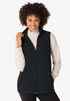 Microfleece Zip-Front Vest, BLACK