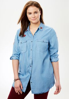 Embroidered Utility Button-Down Shirt,