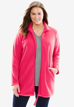 Cozy zip-front jacket in anti-pilling fleece, RADIANT PINK, hi-res