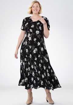 Crinkle Dress, BLACK FLORAL