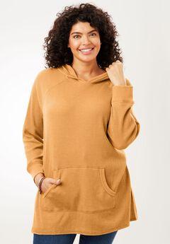 Hooded Thermal Sweatshirt, HONEY GLAZE