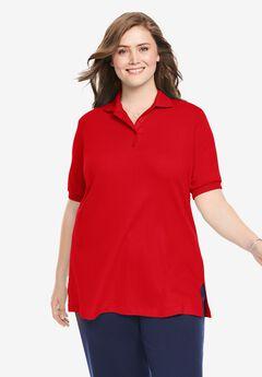 Elbow-Sleeve Tunic Polo Shirt, VIVID RED