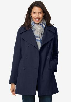 Wool-blend double-breasted peacoat, NAVY, hi-res