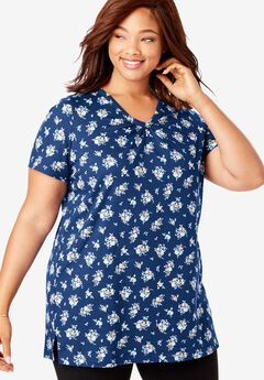 Perfect Printed Shirred V-Neck Tunic,