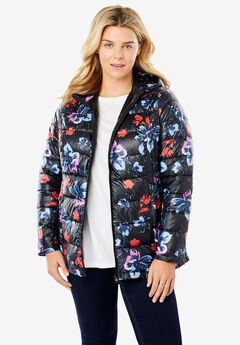 Packable Puffer Jacket, BLACK WATERCOLOR FLORAL