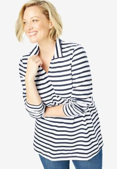 Perfect Striped Open Collar Polo Tee,