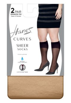 Hanes Curves Sheer Socks 2-Pack,