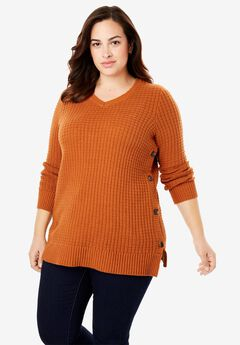 Button V-Neck Sweater,