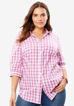 Perfect Three-Quarter Sleeve Print Button Down Shirt, PRETTY ORCHID GINGHAM, hi-res