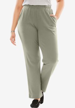 7-Day Knit Ribbed Straight Leg Pant, OLIVE GREY