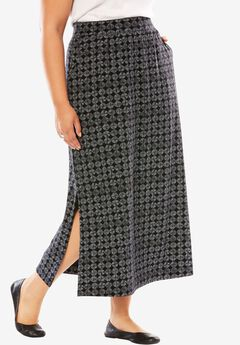 Maxi stretch ponte knit skirt, BLACK CIRCLE TILE, hi-res