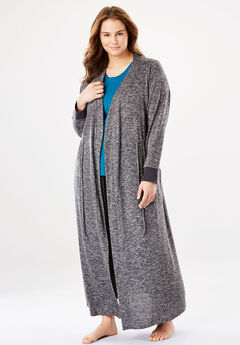 Marled Long Robe, CHARCOAL GREY MARLED, hi-res