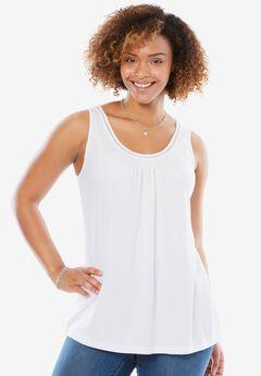 Soft, drapey A-line tank top, WHITE, hi-res