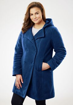 Hooded fleece pea coat,