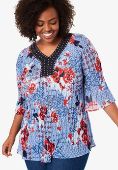 Pleated Popover Bell Sleeve Blouse,