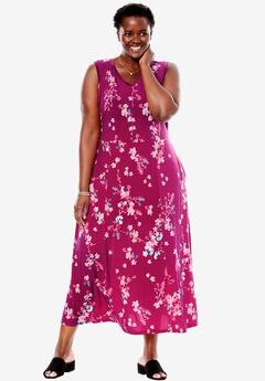 Sleeveless print fit-and-flare dress, RASPBERRY EXOTIC FLORAL, hi-res