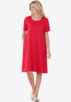Short-Sleeve Crewneck Tee Dress, VIVID RED
