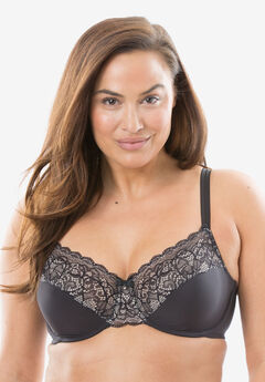 Bali® Lace Desire® Back Smoothing Underwire Bra #DF1002, BLACK CHAMPAGNE SHIMMER