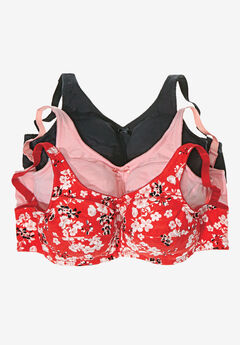Comfort Choice® 3-Pack Full-Coverage Bra, LIPSTICK RED FLORAL, hi-res