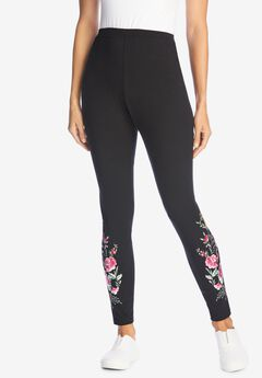 Stretch Cotton Embroidered Legging, BLACK FLORAL EMBROIDERY