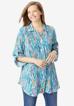 Pintucked Button Down Gauze Shirt, PINK WATERCOLOR PALMS