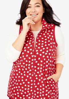 Zip-Front Microfleece Vest, VIVID RED TOSSED HEART