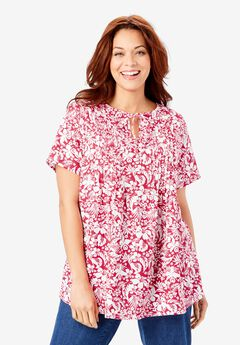 Keyhole Pleat-Front Linen Tunic, CRYSTAL BERRY TROPICAL BLOSSOM